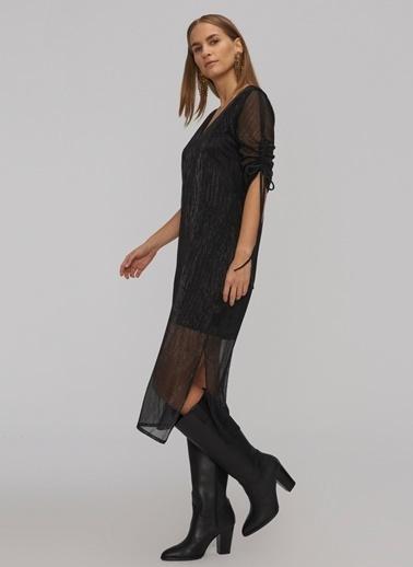 People By Fabrika Kolu Büzgülü Parlak Elbise Siyah